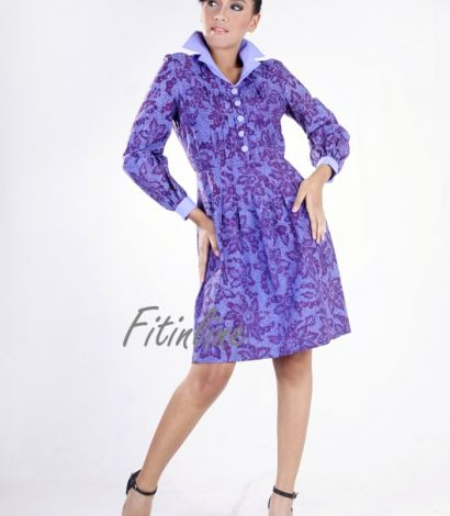 All Pleated with Bell Sleeve Dress